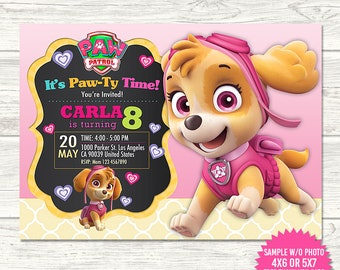 Skye Paw Patrol Invitation Birthday Invitations Party Printable Invites Thank You Card Free