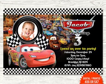 Cars Themed Birthday Invitations Invitation Etsy