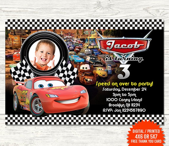 Disney Cars Invitation Birthday Invitations