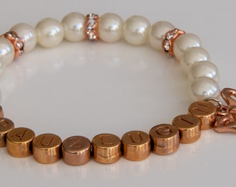 Bracelet groomswoman in Ivory and rose gold