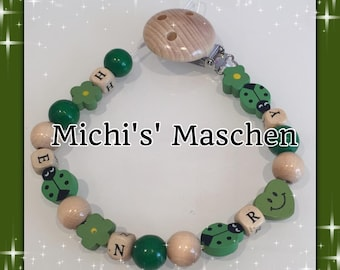 Pacifier chain green personalized