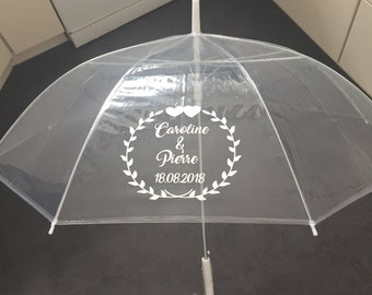 Umbrella transparently personalized