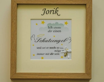 Baptisal gift picture frame personalizes angel