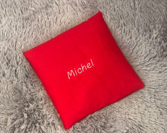 Spelt pillow personalized with name