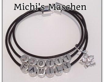 Bracelet Leather Wedding Family Gift