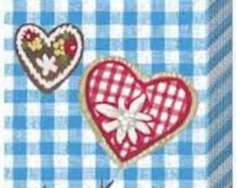 10 handkerchief blue checkered with heart Oktoberfest