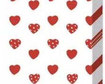 10 handkerchiefs tears of joy with red hearts
