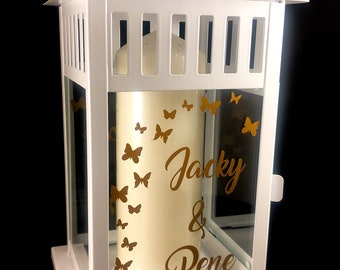 Gift windlight lantern personalized