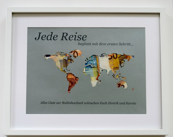 "Featured listing image: Money gift ""World map"" A3 personal. without frame"