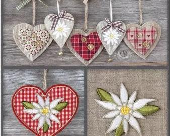 5 loose napkin Napkin Tovaglioli motif napkin Decoupage napkin technique 33 x 33 cm of edelweiss with heart