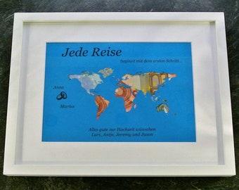 """designed Geldgeschenk """" world map """" individually"""