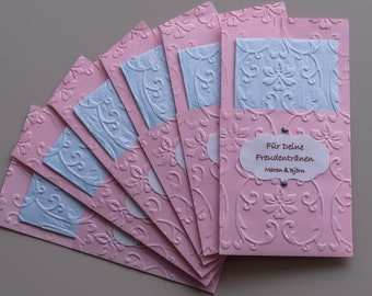 Tears of joy embossed pink light blue