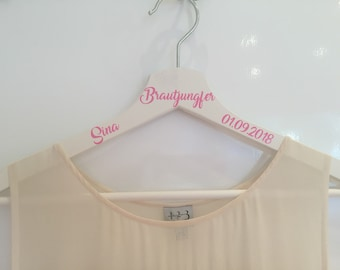 Clothes hanger personalized bridesmaid gift