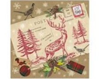 5 loose napkin Napkin Tovaglioli motif napkin Decoupage napkin technique 33 x 33 cm elk on postcard