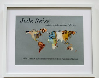 World card money gift personalized A3 without frame