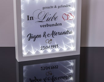 Gift silver wedding picture frame illuminated