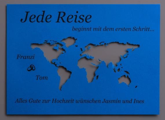 Geldgeschenk Weltkarte DINA5 personalisiert