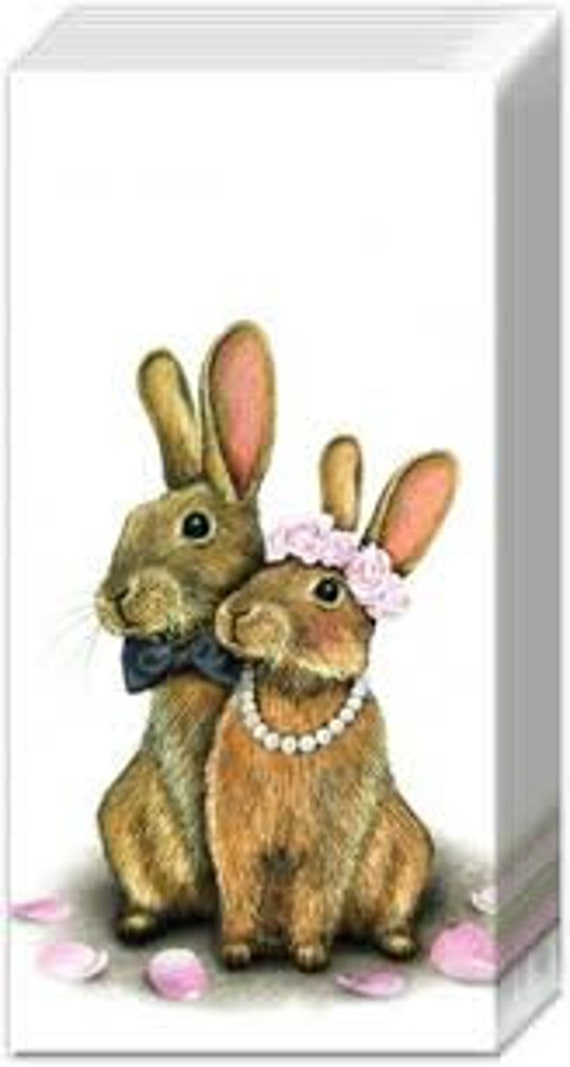 10 Freudentränen Taschentücher Haasen Brautpaar