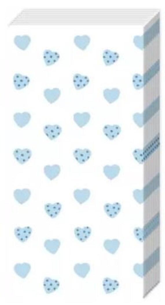 10 Taschentücher Freudentränen mit blauen Herzen