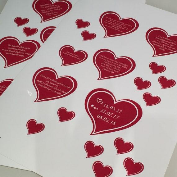 10 Aufkleber Herz individuell erstellbar
