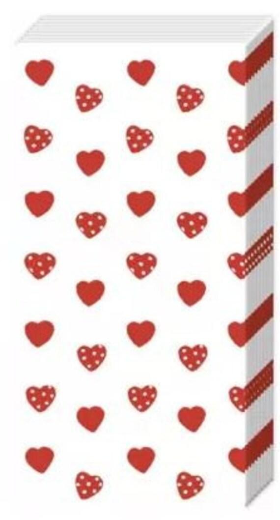 10 Taschentücher Freudentränen mit roten Herzen