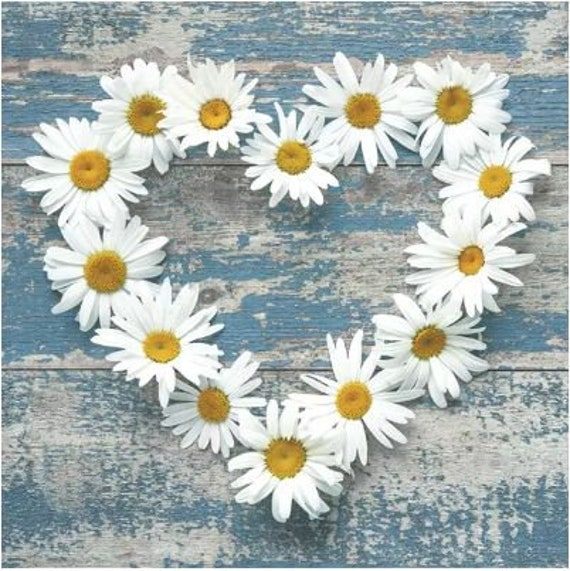 Serviette Daisy Hearts an Old Wooden Background