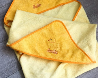 Hooded towel with name and duck