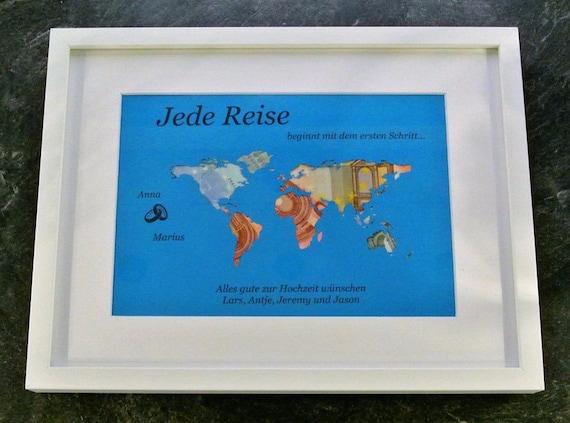 personal. Geldgeschenk A4 Weltkarte Geld im Rahmen