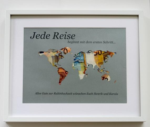 """Geldgeschenk """"Weltkarte"""" A3 personal. ohne Rahmen"""