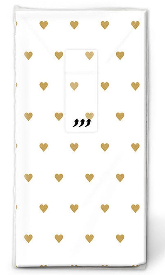 10 Freudentränen Taschentücher mit goldenen Herzen