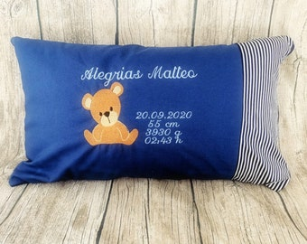 Pillow Baby Birth Personalized Teddy
