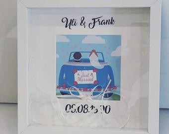 Money gift car in the frame