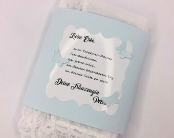 The special handkerchief for the bride embroidered