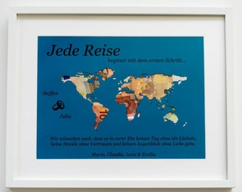 Staff. Money gift World map A3 with frame