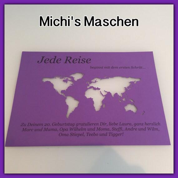 DIN A4 Geldgeschenk Weltkarte individuell