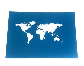 "Monetary gift ""World Map"" A4 personal. unframed"