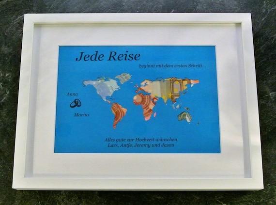 Geldgeschenk Weltkarte Geld personalisiert