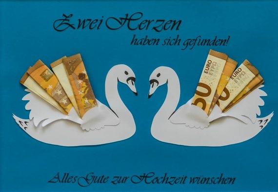 personalisiertes Geldgeschenk Schwäne