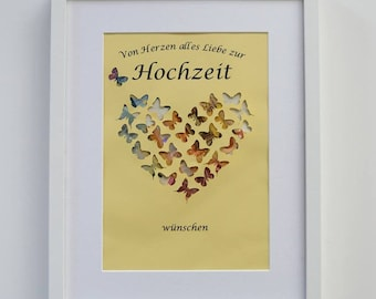 Staff. Money gift heart with frame