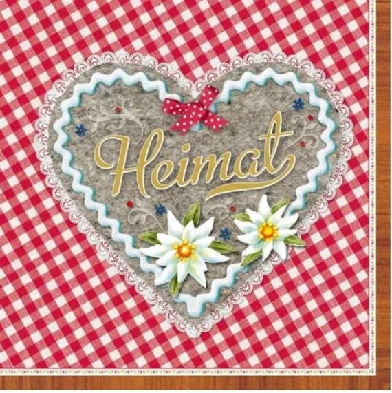 Serviette Heimat Herz Rot