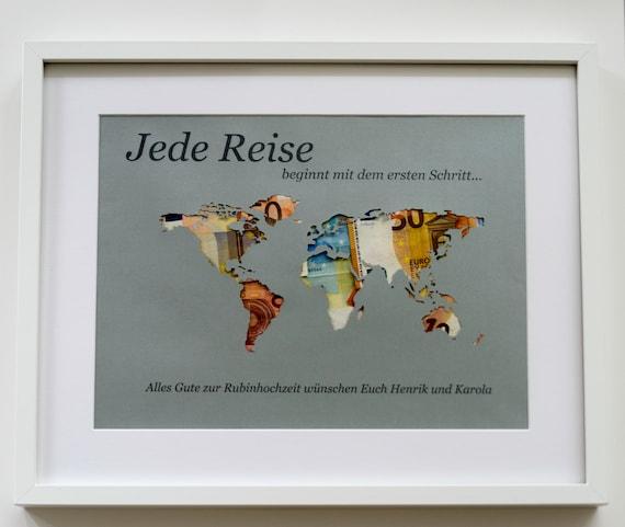 Weltkarte Geldgeschenk personalisiert A3 ohne Rahmen