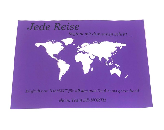 """Featured listing image: Money gift """"World map"""" A3 personal. without frame"""