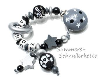 personalisierte Schnullerkette Rockstar, Totenkopf, Gitarre, Sterne, grau-schwarz, silber, mit Namen