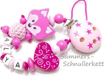 Schnullerkette in Pink-Rosa mit Fuchs,  Holzherz Schnörkel, Namen / auf Wunsch / personalisierbar