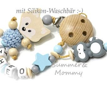 Schnullerkette in Natur , grau hellblau mit Silikon Waschbär, Stern und Fuchs mit namen Name