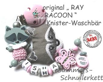 """Personalisierte Schnullerkette , ORIGINAL """"RAY Racoon"""" Waschbär, mit Namen"""