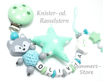 Schnullerkette personalisiert mit Namen, Fuchs,  MINT / Türkis, Junge oder Mädchen, Knisterstern und Wolke