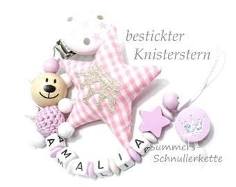 Personalisierte Schnullerkette ,  Mädchen, aufwendig mit Stickstern-Knister, Teddy mit Häkelkörper, Rosa-Weiß