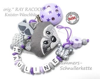 """Schnullerkette mit Namen,  ORIGINAL """"RAY Racoon"""" Waschbär, für Mädchen in flieder-grau"""