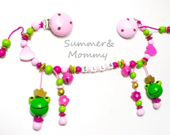 Stroller necklace with names, frogs, pink pink, with bells, girls